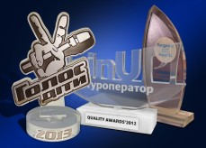 Acrylic prizes operative custom, plastic prizes of different shapes, quickly, efficiently, cheaply. Prizes engraving, drawing for prizes, prizes for various forms of custom