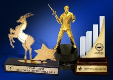 Prizes, souvenirs, exclusive making and development of VIP of prizes and souvenirs from a metal, glass, stone.